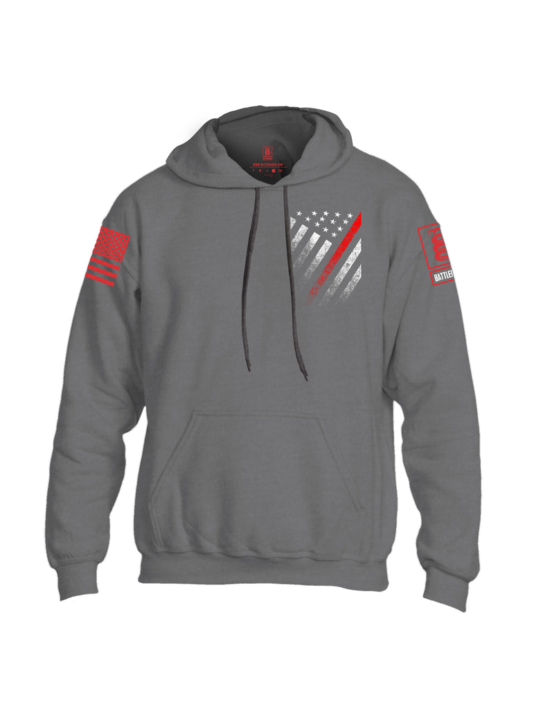 Battleraddle USA Red Thin Line Series Flag Red Sleeve Print Mens Blended Hoodie With Pockets