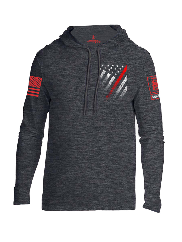 Battleraddle USA Red Thin Line Series Flag Red Sleeve Print Mens Thin Cotton Lightweight Hoodie