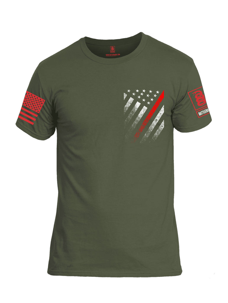 Battleraddle USA Red Thin Line Series Flag Red Sleeve Print Mens Cotton Crew Neck T Shirt