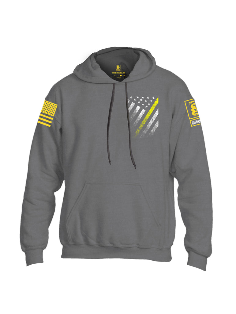Battleraddle USA Yellow Thin Line Series Flag Yellow Sleeve Print Mens Blended Hoodie With Pockets