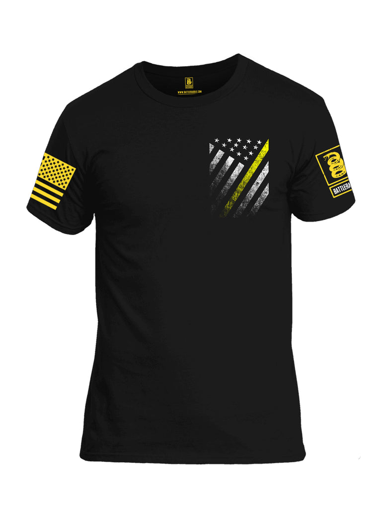 Battleraddle USA Yellow Thin Line Series Flag Yellow Sleeve Print Mens Cotton Crew Neck T Shirt
