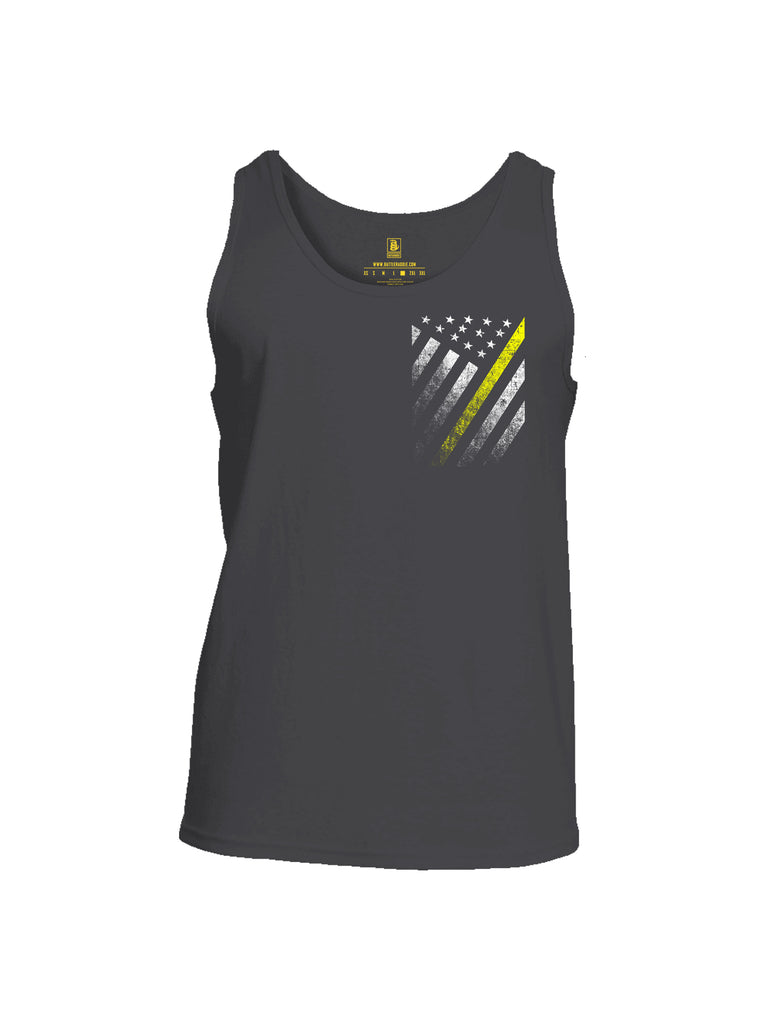 Battleraddle USA Yellow Thin Line Series Flag Mens Cotton Tank Top