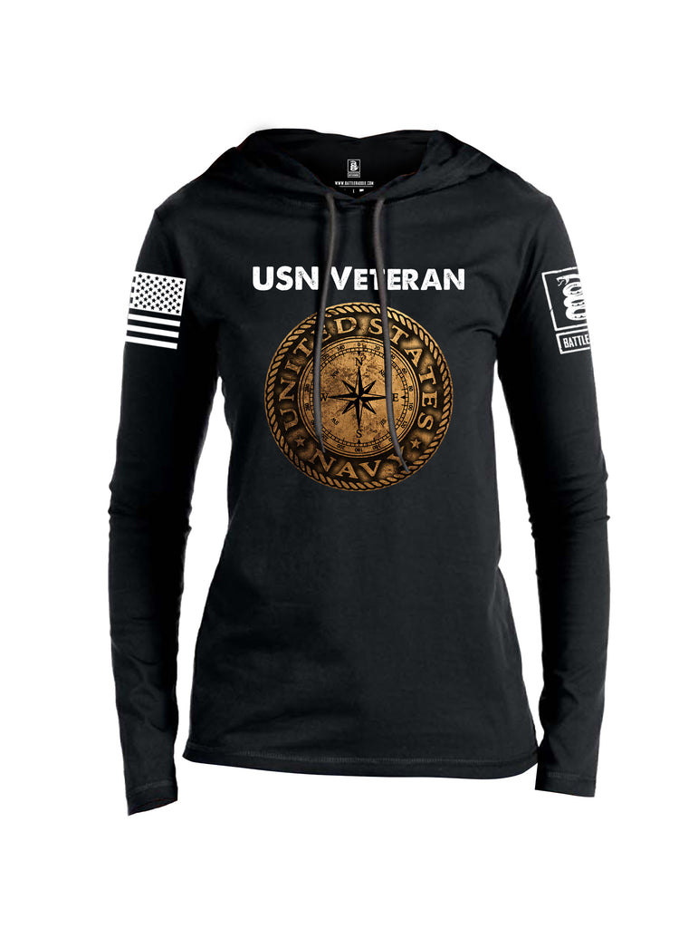 Battleraddle USN Veteran Compass White Sleeve Print Womens Thin Cotton Lightweight Hoodie