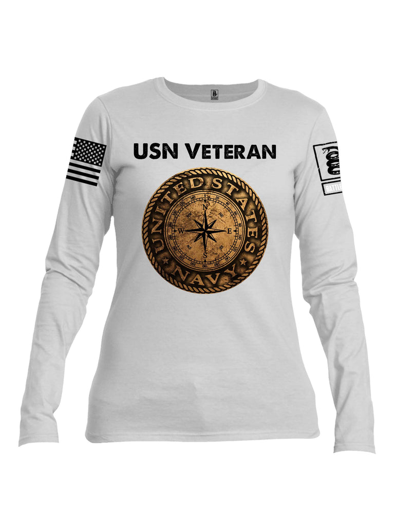 Battleraddle USN Veteran Compass White Sleeve Print Womens Cotton Long Sleeve Crew Neck T Shirt