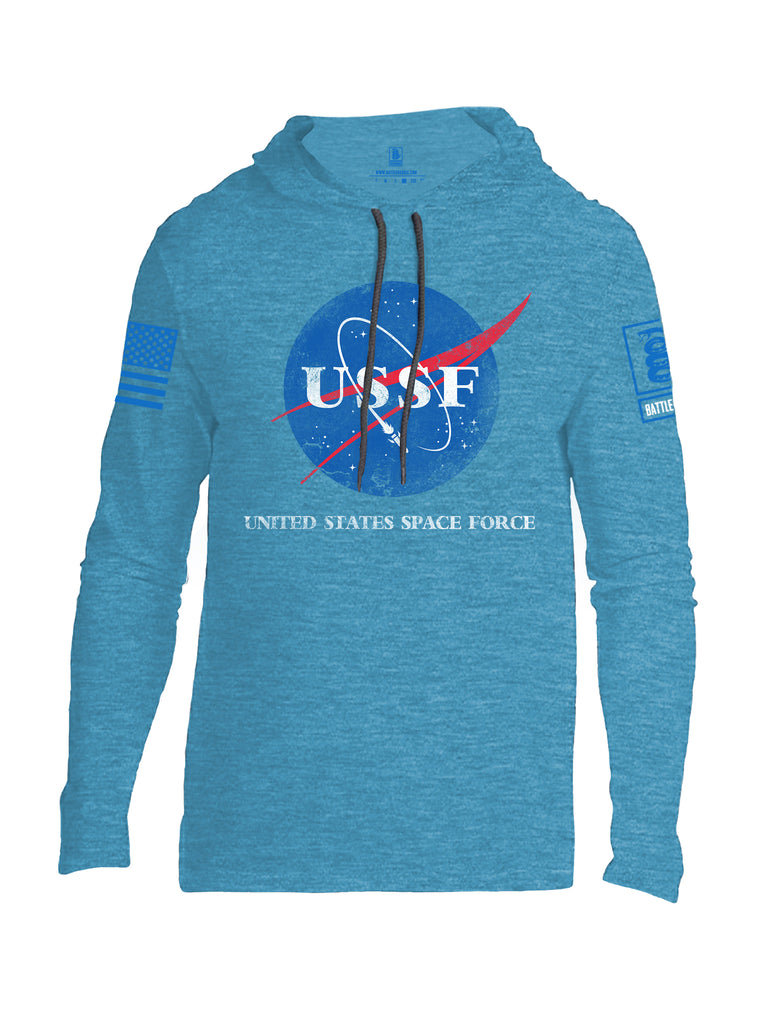 Battleraddle United States Space Force Blue Sleeve Print Mens Thin Cotton Lightweight Hoodie