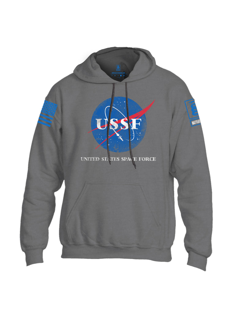 Battleraddle United States Space Force Blue Sleeve Print Mens Blended Hoodie With Pockets