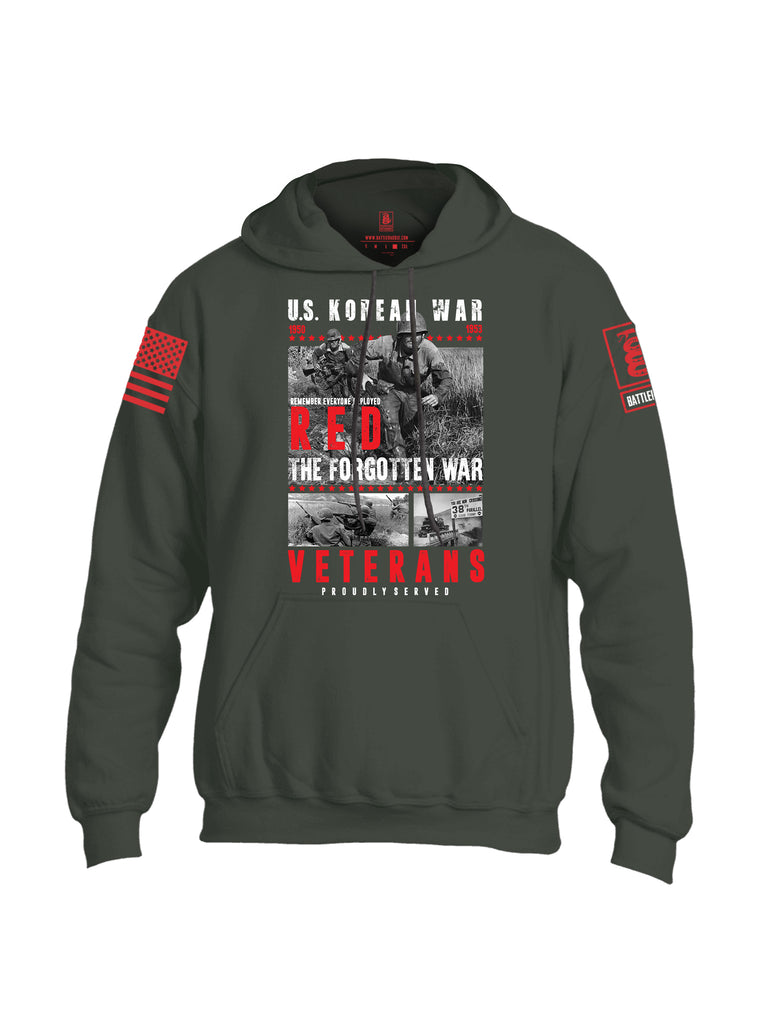 Battleraddle U.S. Korean War RED Remember Everyone Deployed The Forgotten War Veterans Proudly Served Red Sleeve Print Mens Blended Hoodie With Pockets