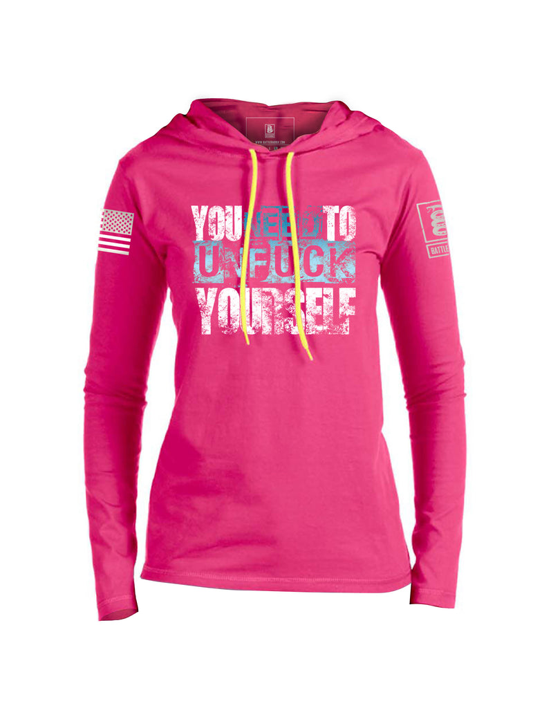 Battleraddle You Need To Unfuck Yourself White Sleeve Print Womens Thin Cotton Lightweight Hoodie