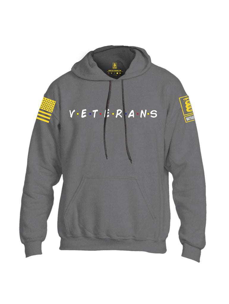 Battleraddle VETERANS Yellow Sleeve Print Mens Blended Hoodie With Pockets