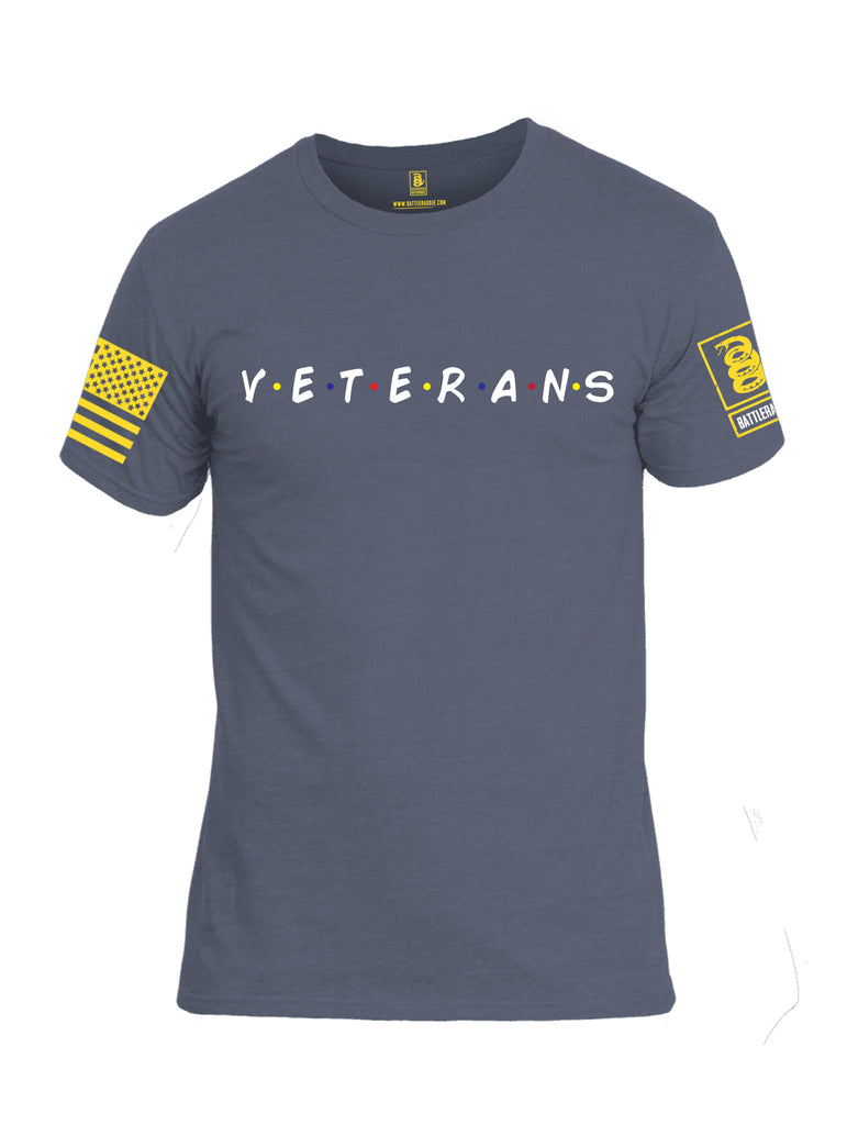 Battleraddle Veterans Yellow Sleeve Print Mens Cotton Crew Neck T Shirt