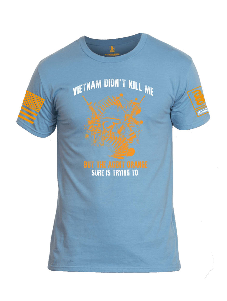 Battleraddle Vietnam Didn't Kill Me But The Agent Orange Sure Is Trying To Orange Sleeve Print Mens Cotton Crew Neck T Shirt