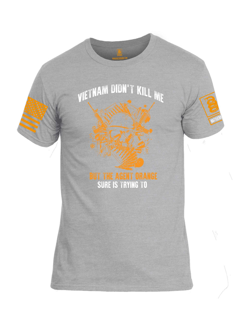 Battleraddle Vietnam Didn't Kill Me But The Agent Orange Is Trying To Orange Sleeve Print Mens Cotton Crew Neck T Shirt