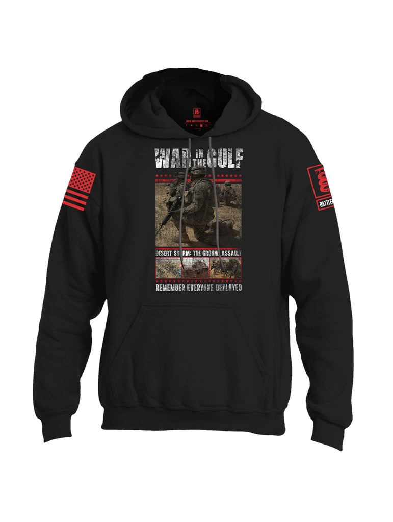 Battleraddle War In The Gulf Desert Storm The Ground Assault Remember Everyone Deployed Red Sleeve Print Mens Blended Hoodie With Pockets
