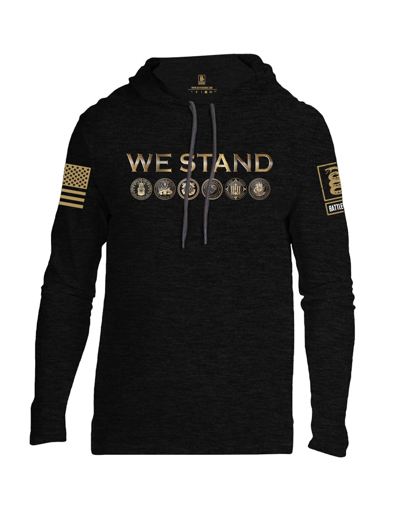 Battleraddle We Stand Brass Sleeve Print Mens Thin Cotton Lightweight Hoodie