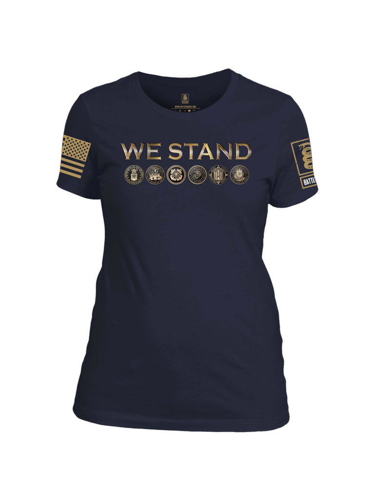 Battleraddle We Stand Brass Sleeve Print Womens Cotton Crew Neck T Shirt