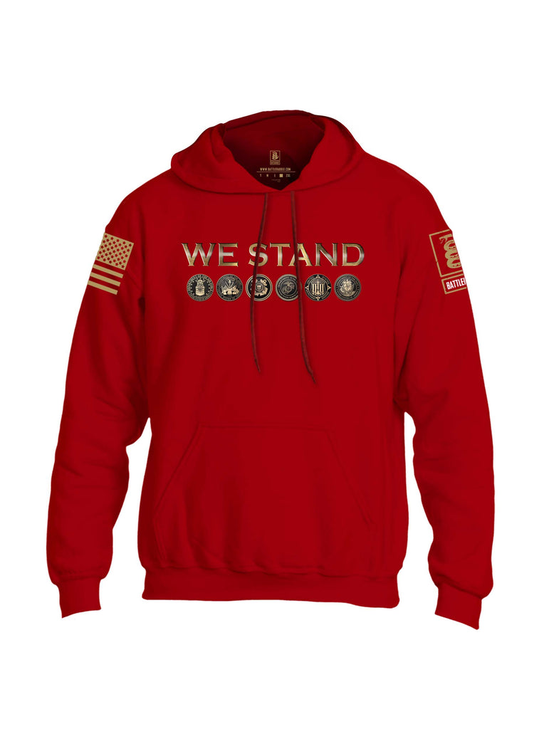Battleraddle We Stand Brass Sleeve Print Mens Blended Hoodie With Pockets