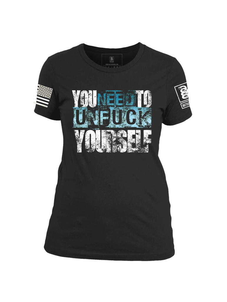 Battleraddle You Need To Unfuck Yourself White Sleeve Print Womens Cotton Crew Neck T Shirt