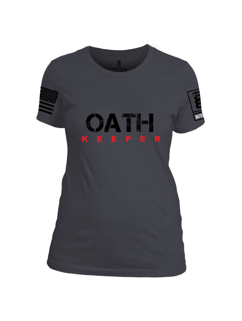 Battleraddle Oath Keeper Black {sleeve_color} Sleeves Women Cotton Crew Neck T-Shirt