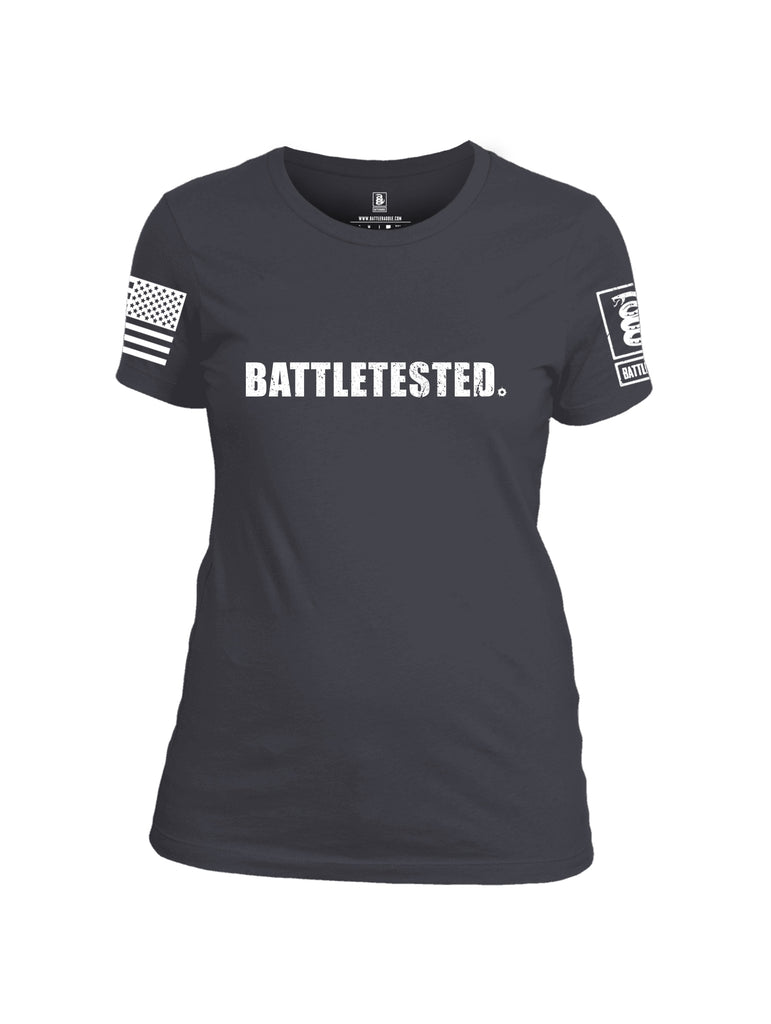 Battleraddle Battletested White {sleeve_color} Sleeves Women Cotton Crew Neck T-Shirt
