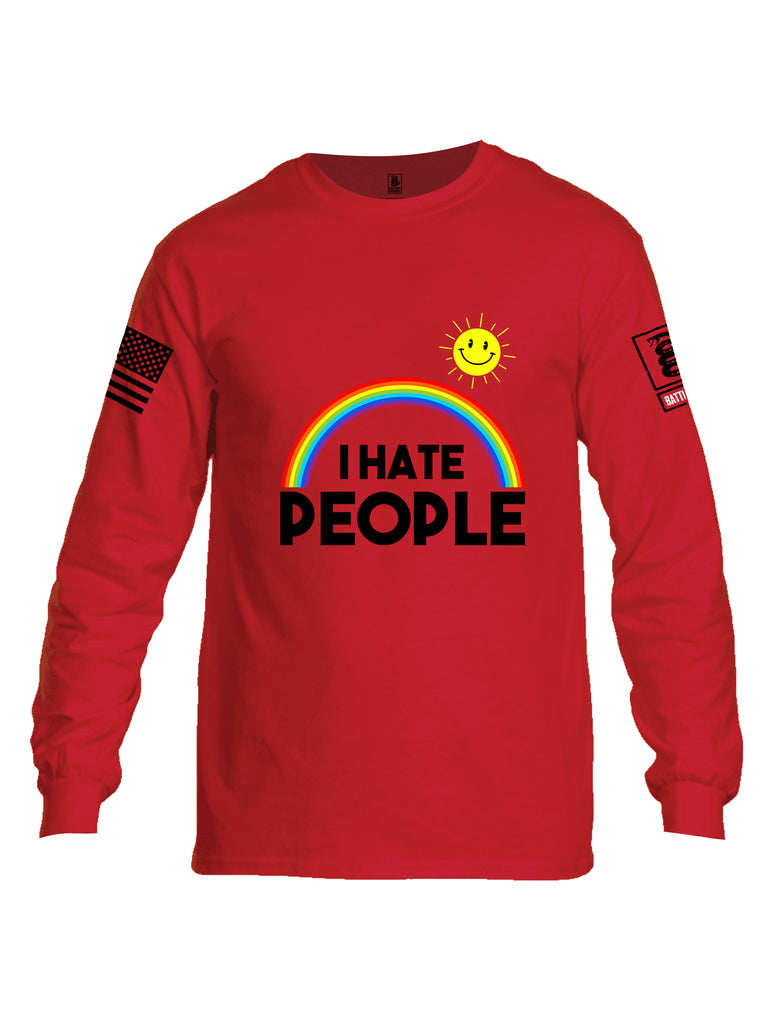 Battleraddle I Hate People {sleeve_color} Sleeves Men Cotton Crew Neck Long Sleeve T Shirt