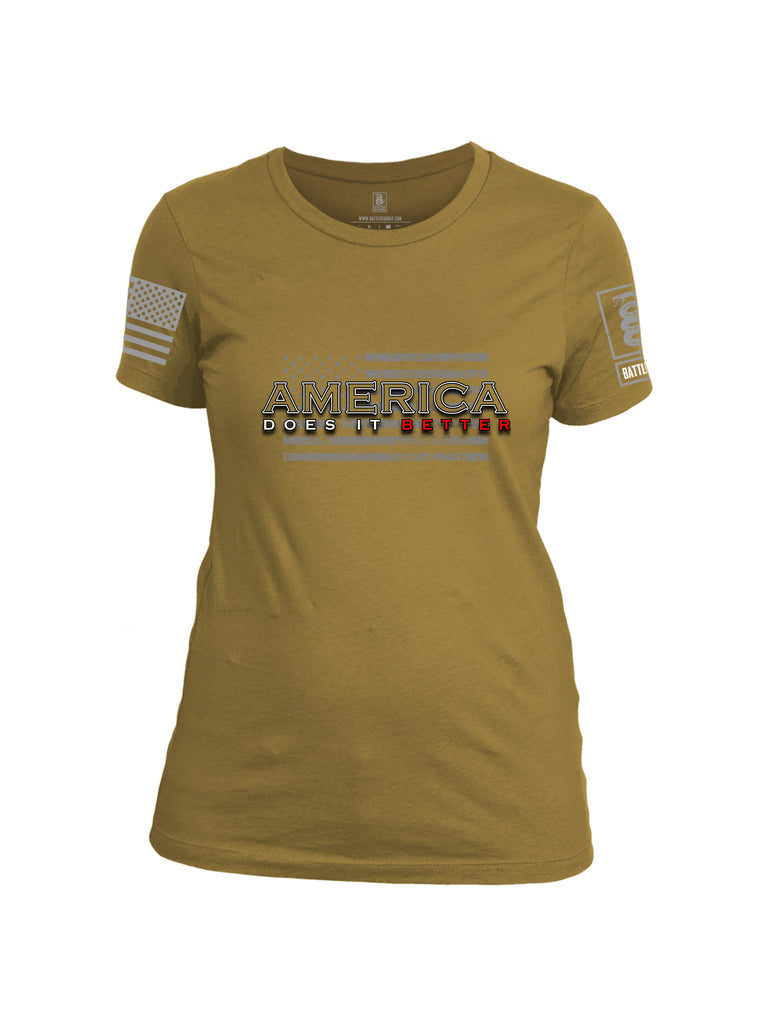 Battleraddle America Does It Better {sleeve_color} Sleeves Women Cotton Crew Neck T-Shirt
