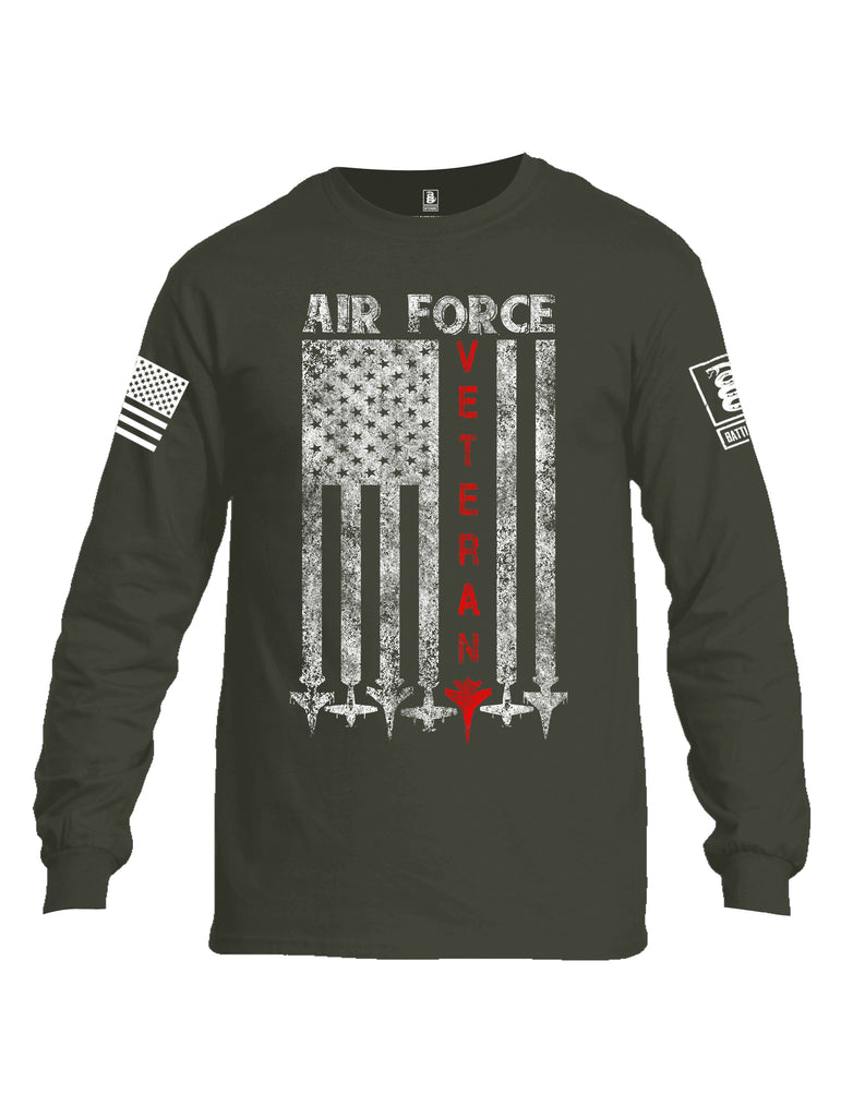 Battleraddle Air Force Veteran White Sleeve Print Mens Cotton Long Sleeve Crew Neck T Shirt