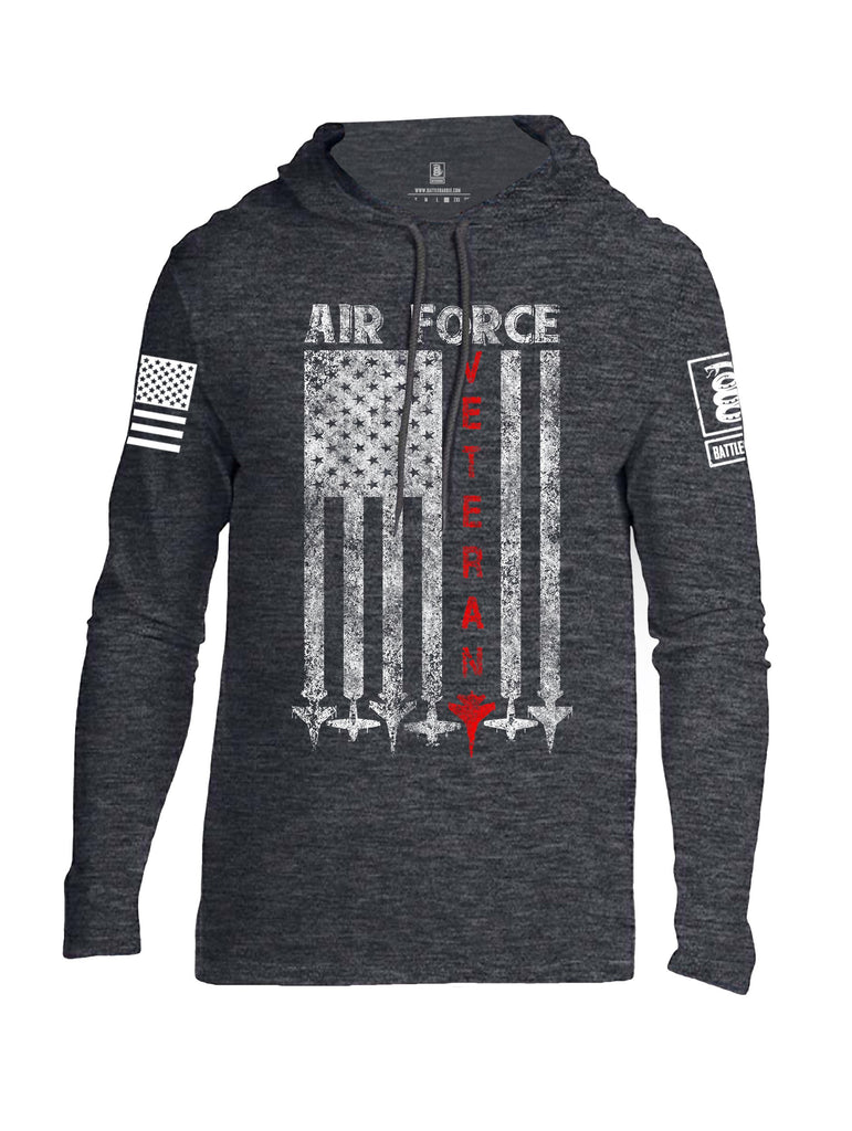 Battleraddle Air Force Veteran White Sleeve Print Mens Thin Cotton Lightweight Hoodie