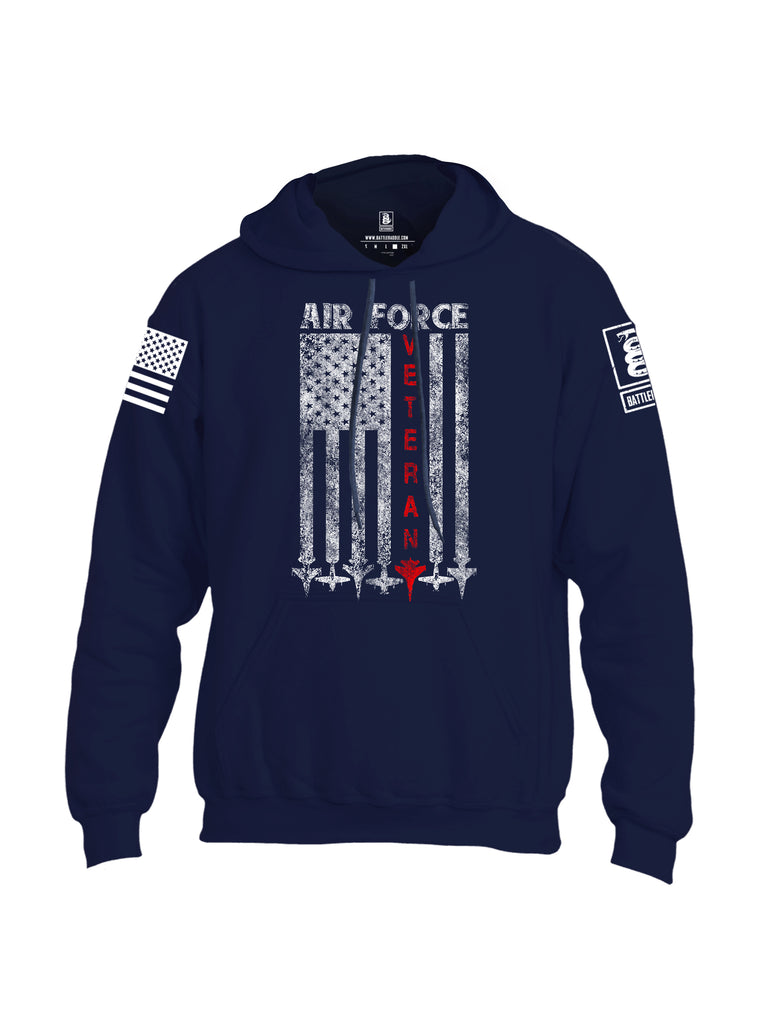Battleraddle Air Force Veteran White Sleeve Print Mens Blended Hoodie With Pockets