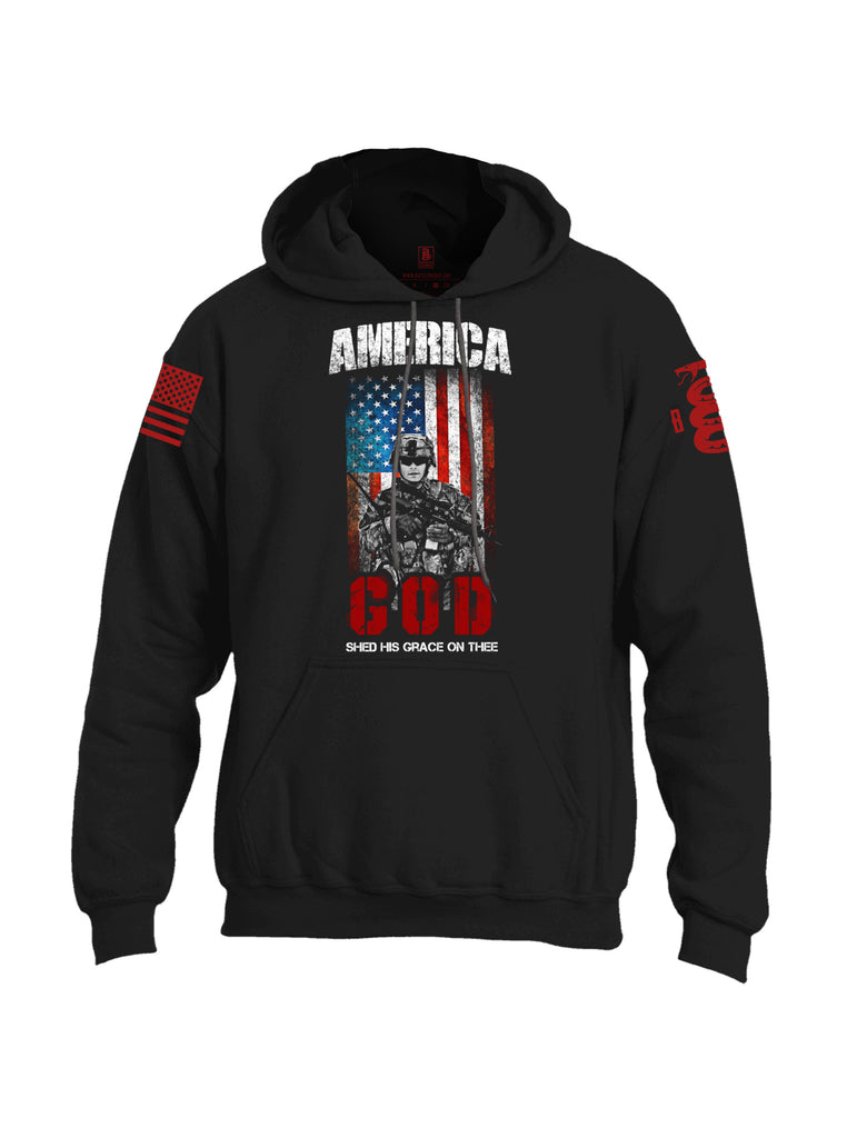 Battleraddle America God Shed His Grace On Thee Red Sleeve Print Mens Blended Hoodie With Pockets - Battleraddle® LLC