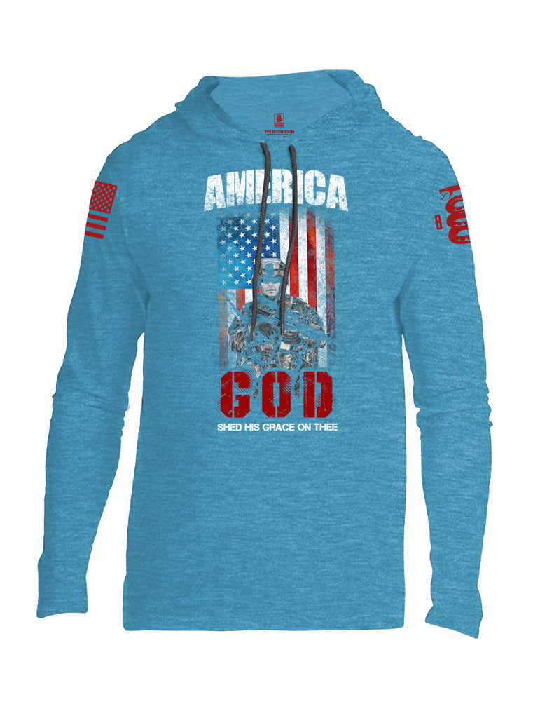 Battleraddle America God Shed His Grace On Thee Red Sleeve Print Mens Thin Cotton Lightweight Hoodie - Battleraddle® LLC
