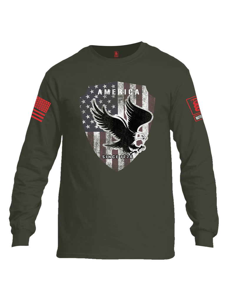 Battleraddle America Since 1776 Red Sleeve Print Mens Cotton Long Sleeve Crew Neck T Shirt