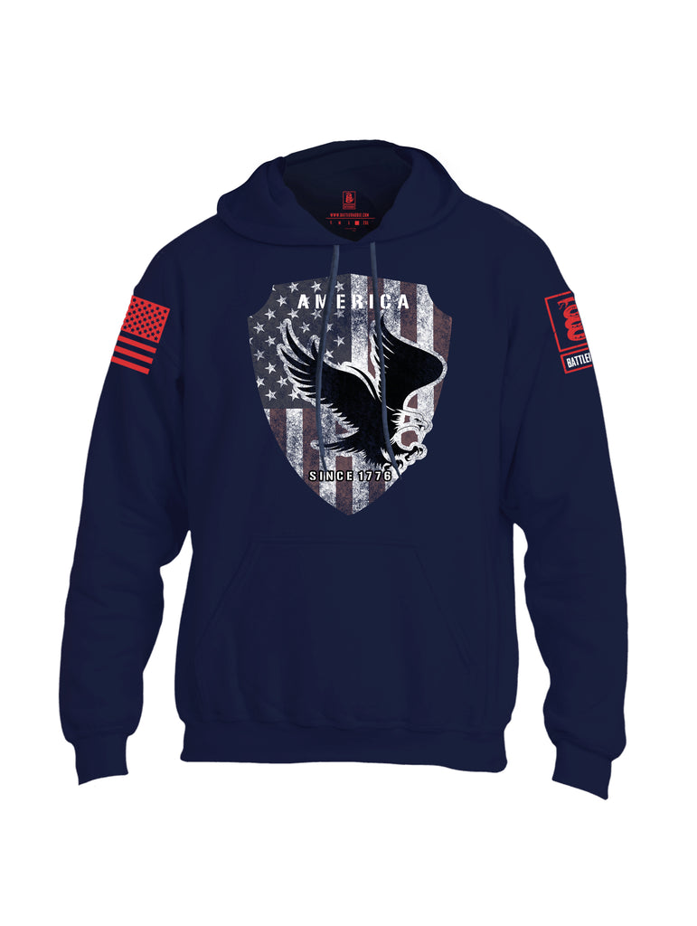 Battleraddle America Since 1776 Red Sleeve Print Mens Blended Hoodie With Pockets - Battleraddle® LLC