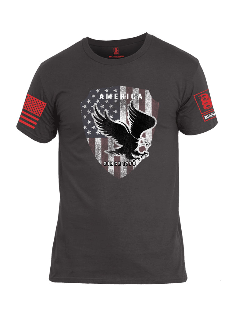 Battleraddle America Since 1776 Red Sleeve Print Mens Cotton Crew Neck T Shirt - Battleraddle® LLC