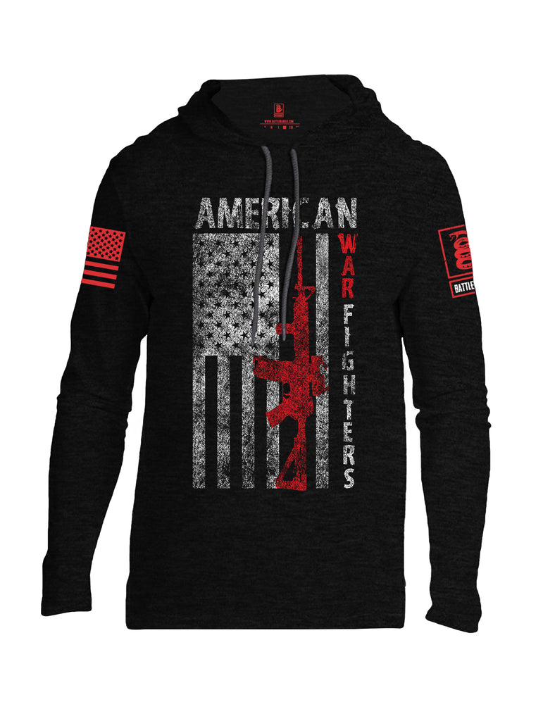Battleraddle American War Fighters Red Sleeve Print Mens Thin Cotton Lightweight Hoodie