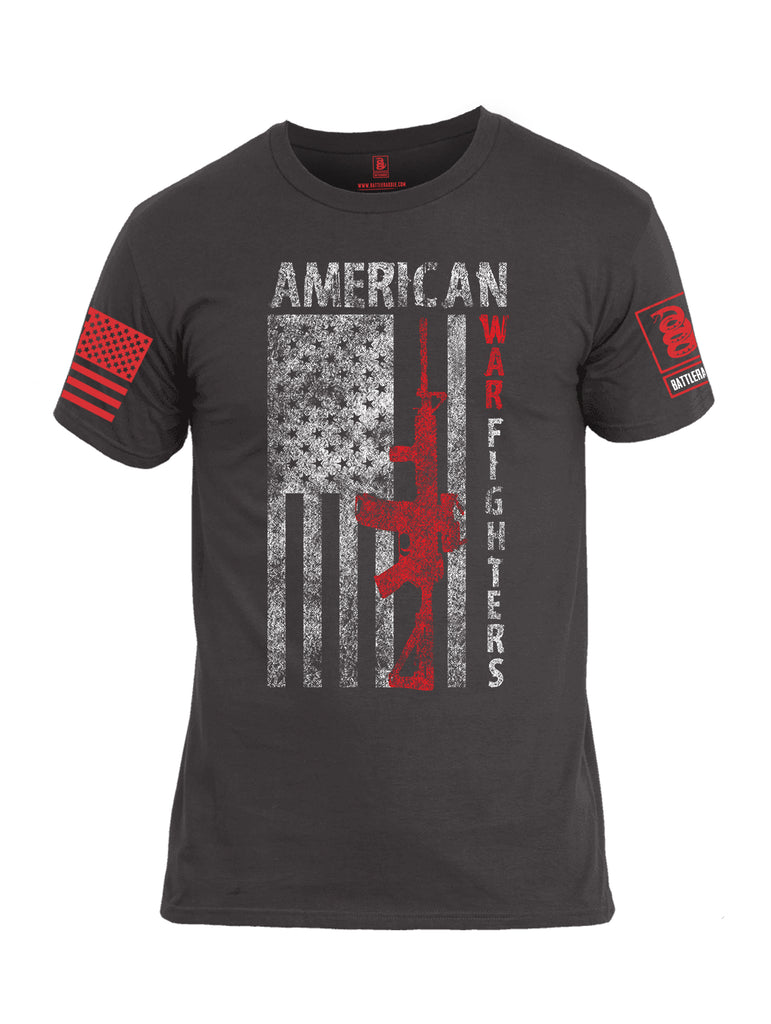 Battleraddle American War Fighters Red Sleeve Print Mens Cotton Crew Neck T Shirt