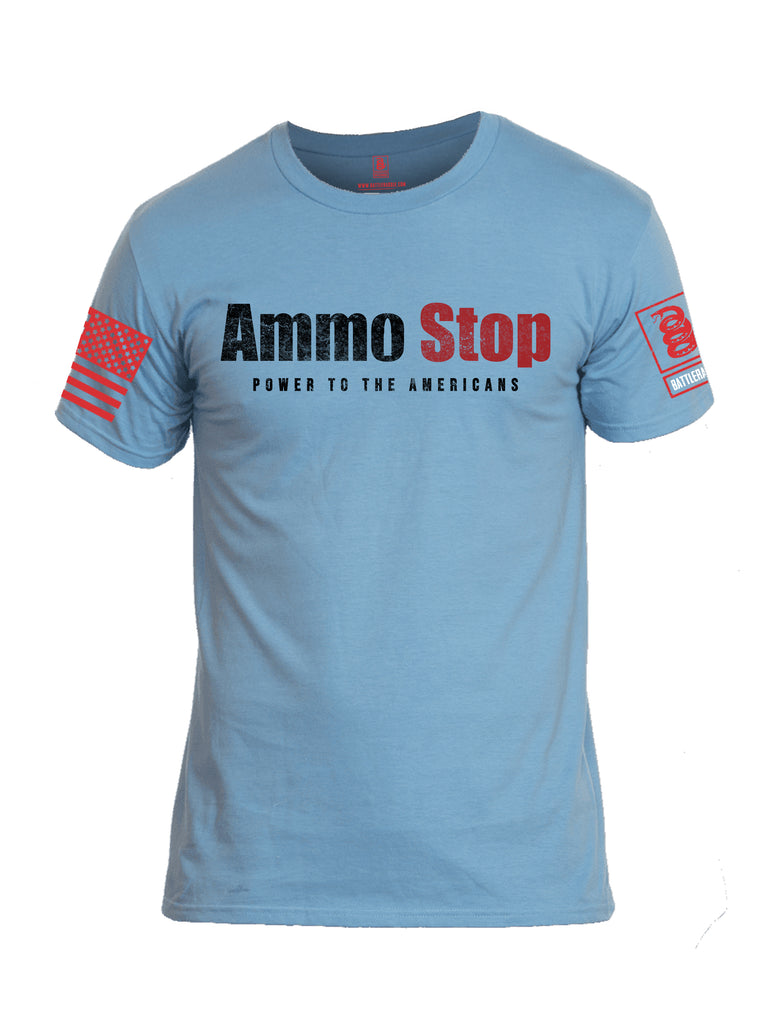 Battleraddle Ammo Stop Power To The Americans Red Sleeve Print Mens Cotton Crew Neck T Shirt