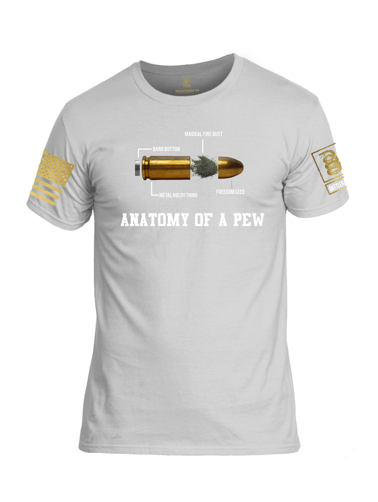 Battleraddle Anatomy Of A PEW Brass Sleeve Print Mens Cotton Crew Neck T Shirt