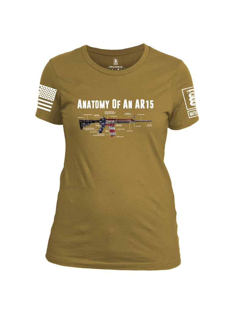 Battleraddle Anatomy Of An AR15 White Sleeve Print Womens Cotton Crew Neck T Shirt