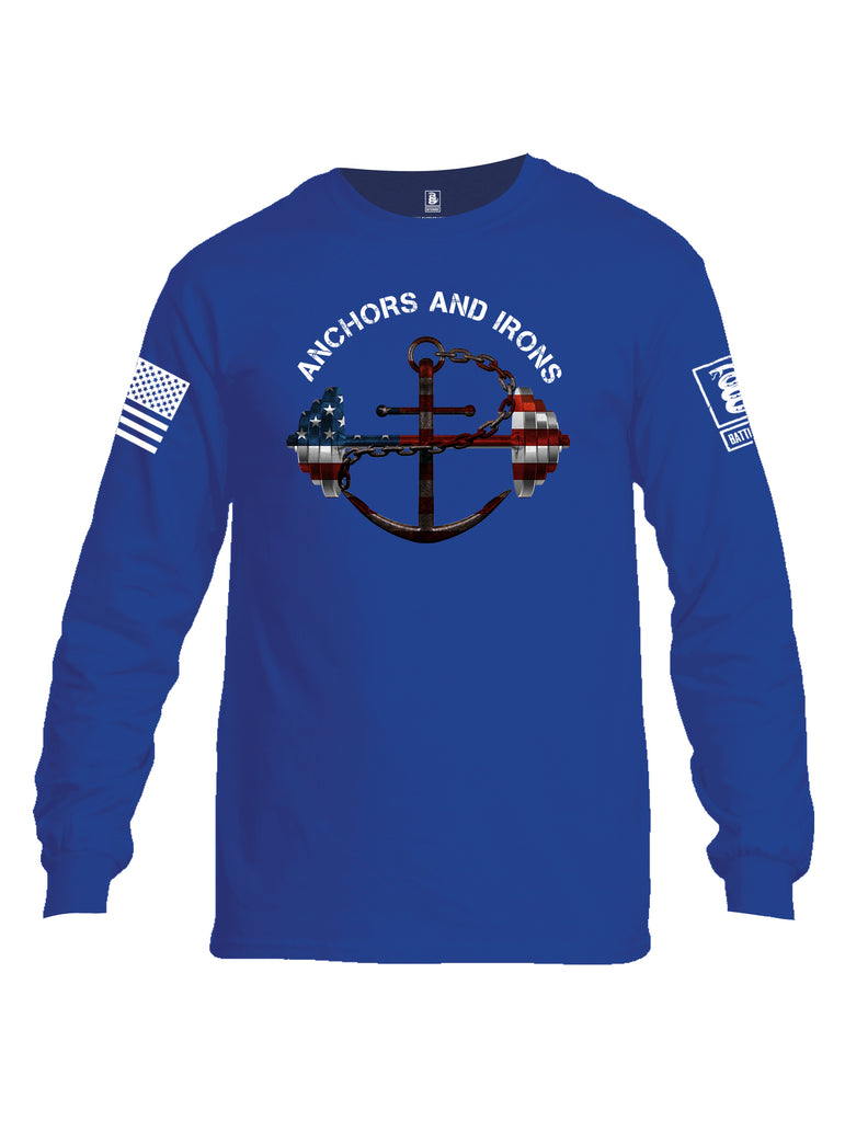 Battleraddle Anchors and Irons White Sleeve Print Mens Cotton Long Sleeve Crew Neck T Shirt