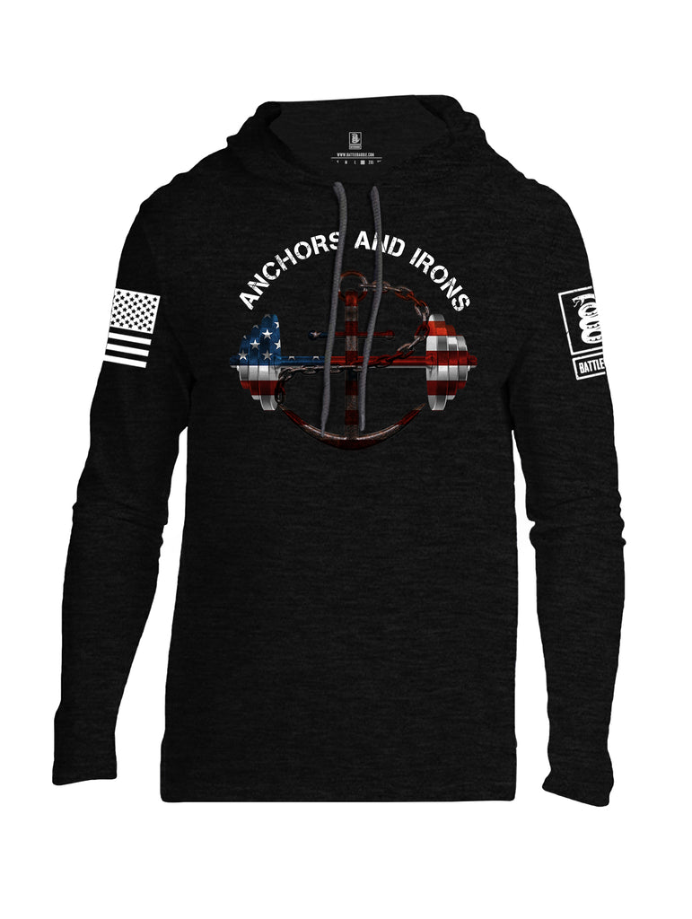 Battleraddle Anchors and Irons White Sleeve Print Mens Thin Cotton Lightweight Hoodie