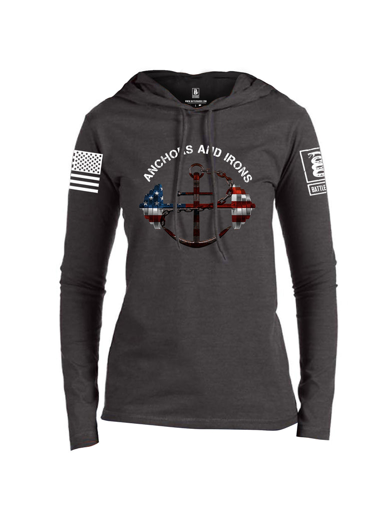 Battleraddle Anchors and Irons White Sleeve Print Womens Thin Cotton Lightweight Hoodie