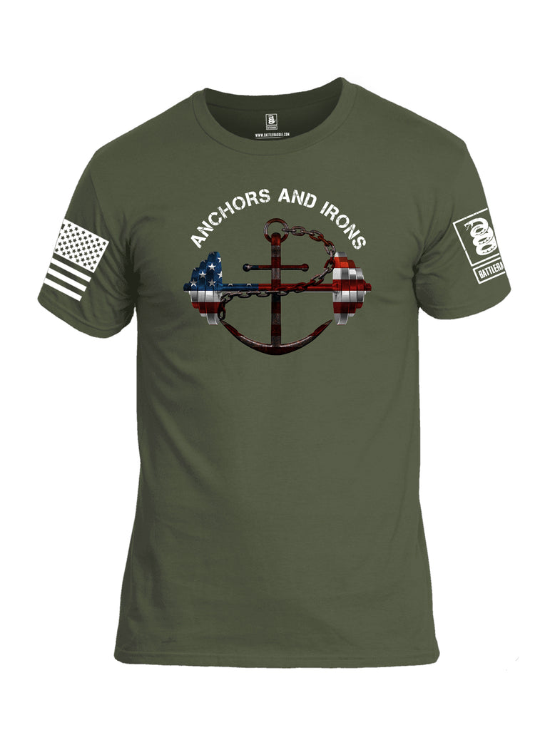 Battleraddle Anchors and Irons White Sleeve Print Mens Cotton Crew Neck T Shirt