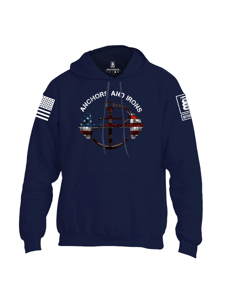 Battleraddle Anchors and Irons White Sleeve Print Mens Blended Hoodie With Pockets