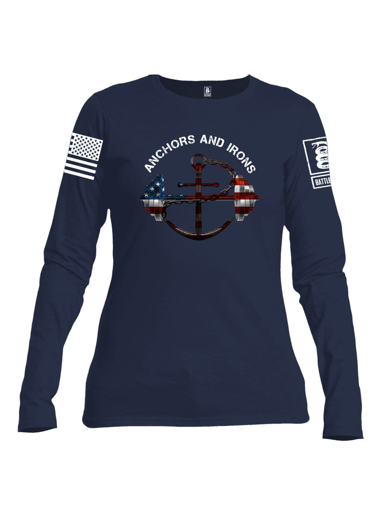 Battleraddle Anchors and Irons White Sleeve Print Womens Cotton Long Sleeve Crew Neck T Shirt