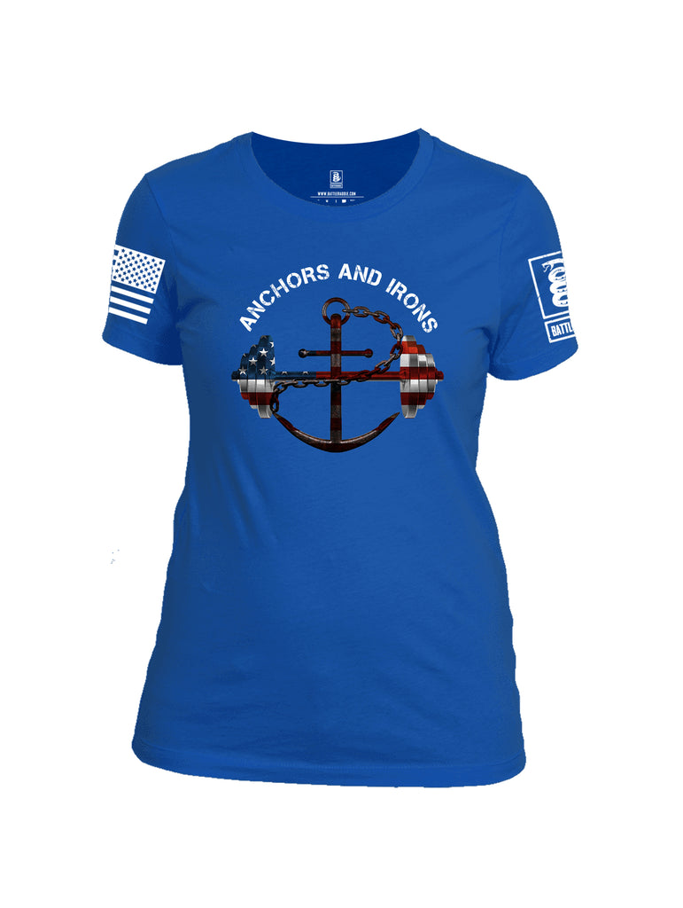 Battleraddle Anchors and Irons White Sleeve Print Womens Cotton Crew Neck T Shirt