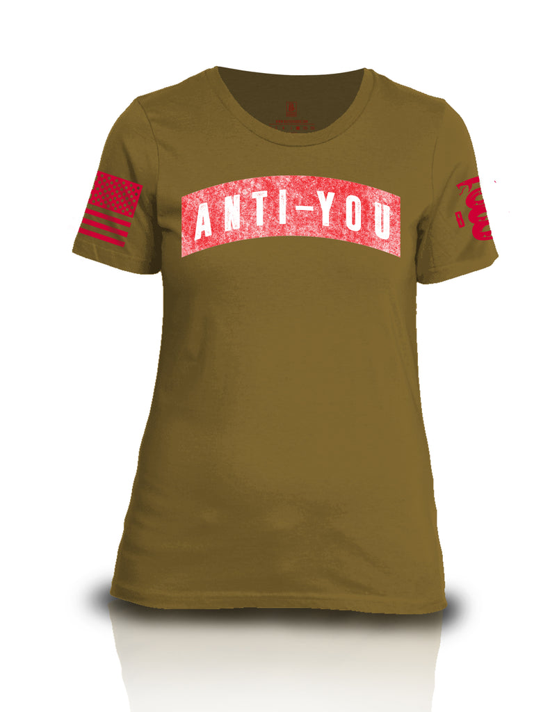 Battleraddle Anti-You Red Sleeve Print Womens Cotton Crew Neck T Shirt - Battleraddle® LLC