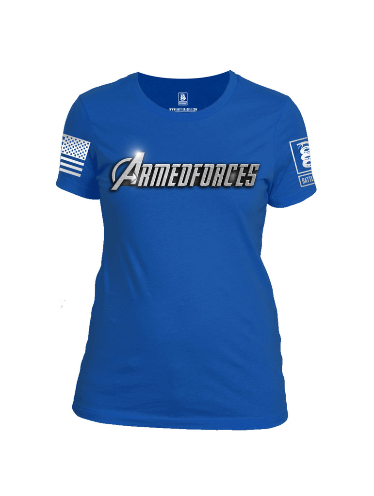 Battleraddle Avenger Armed Forces Superhero Tribute White Sleeve Print Womens Cotton Crew Neck T Shirt - Battleraddle® LLC