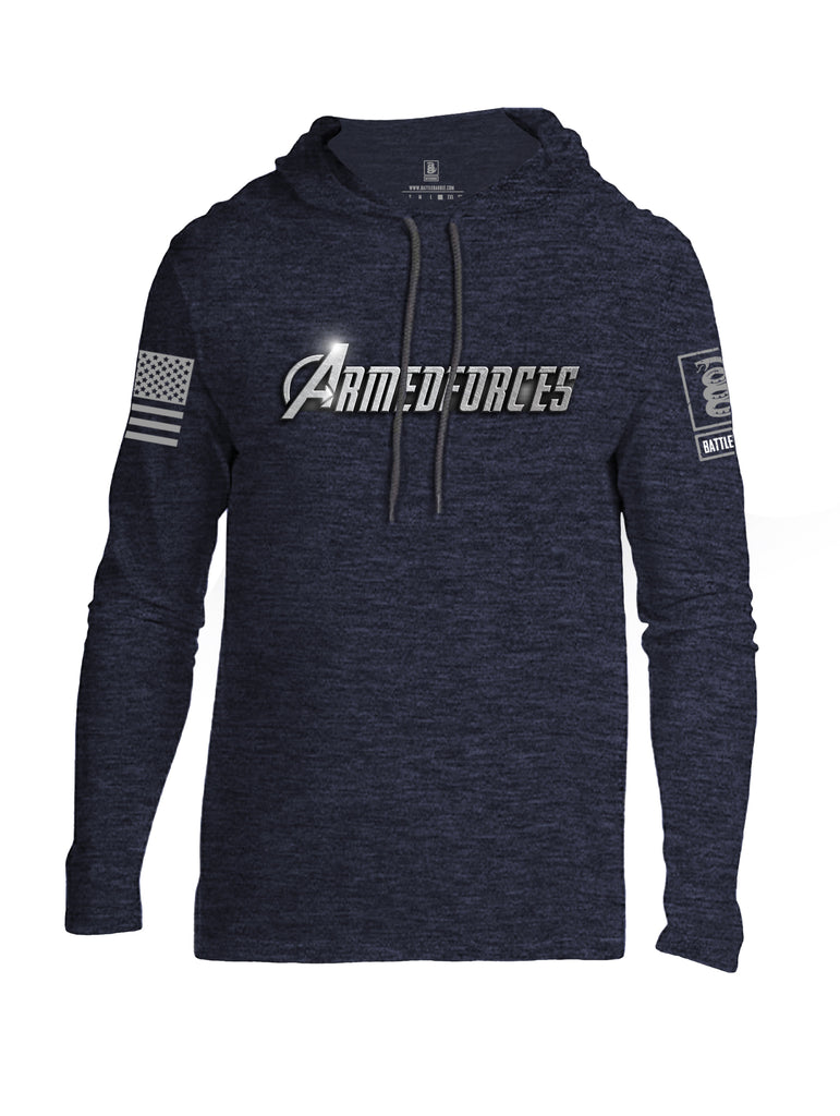 Battleraddle Armedforces Avengepatriot Grey Sleeve Print Mens Thin Cotton Lightweight Hoodie