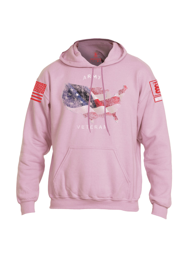 Battleraddle Army Veteran Red Sleeve Print Mens Blended Hoodie With Pockets