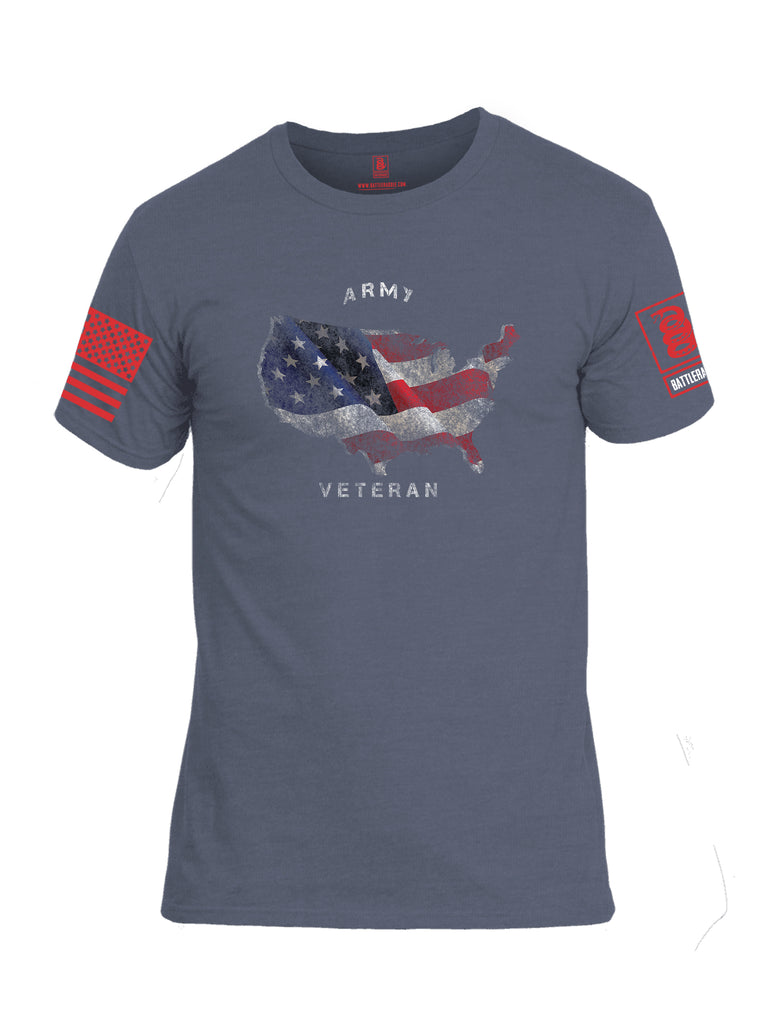 Battleraddle Army Veteran Red Sleeve Print Mens Cotton Crew Neck T Shirt